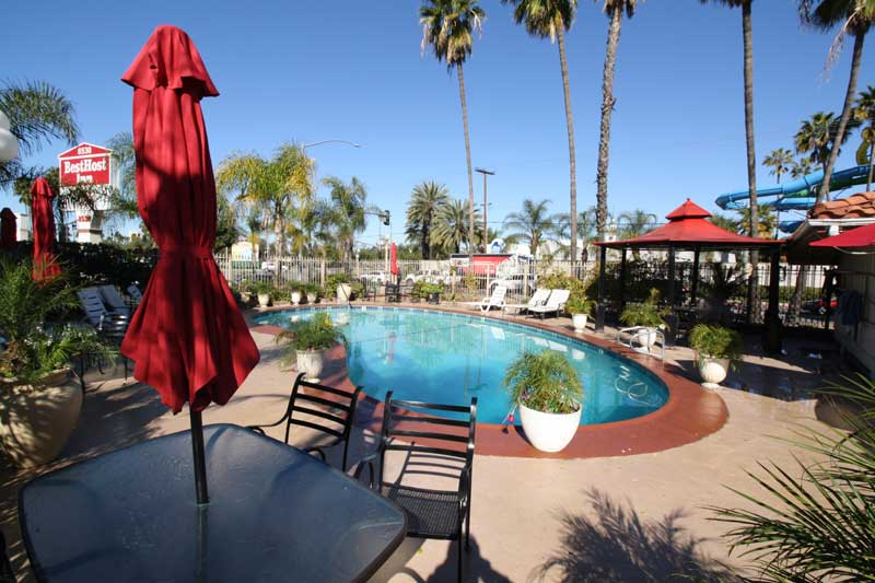 Heated Pool Amenities Newly Remodeled Free WiFi Free Continental Breakfast Best Host Inn Disneyland Knotts Berry Farm Buena Park CA * Reasonable Affordable Rates Amenities Hotels Motels Lodging Accomodations Great Amenities Buena Park Californ