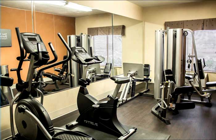 Fitness Room Hotels Motels Amenities Newly Remodeled Free WiFi Free Continental Breakfast Comfort Inn Suites Jekyll Island Brunswick GA Reasonable Affordable Rates Amenities Hotels Motels Lodging Accomodations Great Amenities Brunswick Georgia