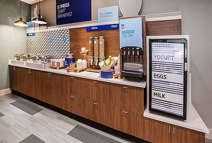Free Full Hot Breakfast Hotels Motels Amenities Newly Remodeled Free WiFi Free Continental Breakfast Holiday Inn Express and Suites Wichita Airport Mcpherson KS Reasonable Affordable Rates Amenities Hotels Motels Lodging Accomodations Great Amenities Mcph