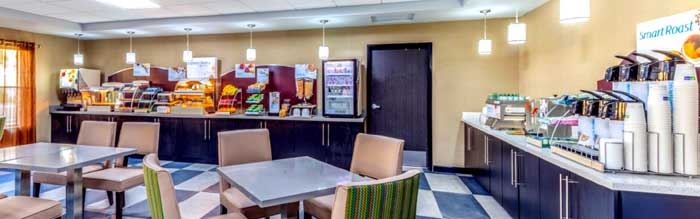 Free Hot Breakfast Buffet Hotels Motels Amenities Newly Remodeled Free WiFi Free Continental Breakfast Holiday Inn Express & Suites Kansas City West Shawnee KS Reasonable Affordable Rates Amenities Hotels Motels Lodging Accomodations Great Amenities Shawn