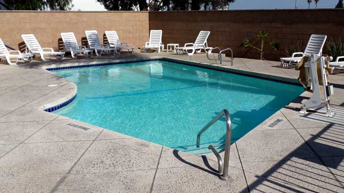 Seasonal Outdoor Pool  Motels Amenities Newly Remodeled Free WiFi Free Continental Breakfast Motel 6 Airport Ontario CA * Reasonable Affordable Rates Amenities Hotels Motels Lodging Accomodations Great Amenities Ontario California