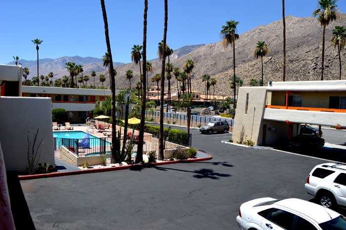 Outdoor Pool and Spa pet Friendly Palms Springs Hotel Dining Shopping Musicland Hotel Palm Springs California