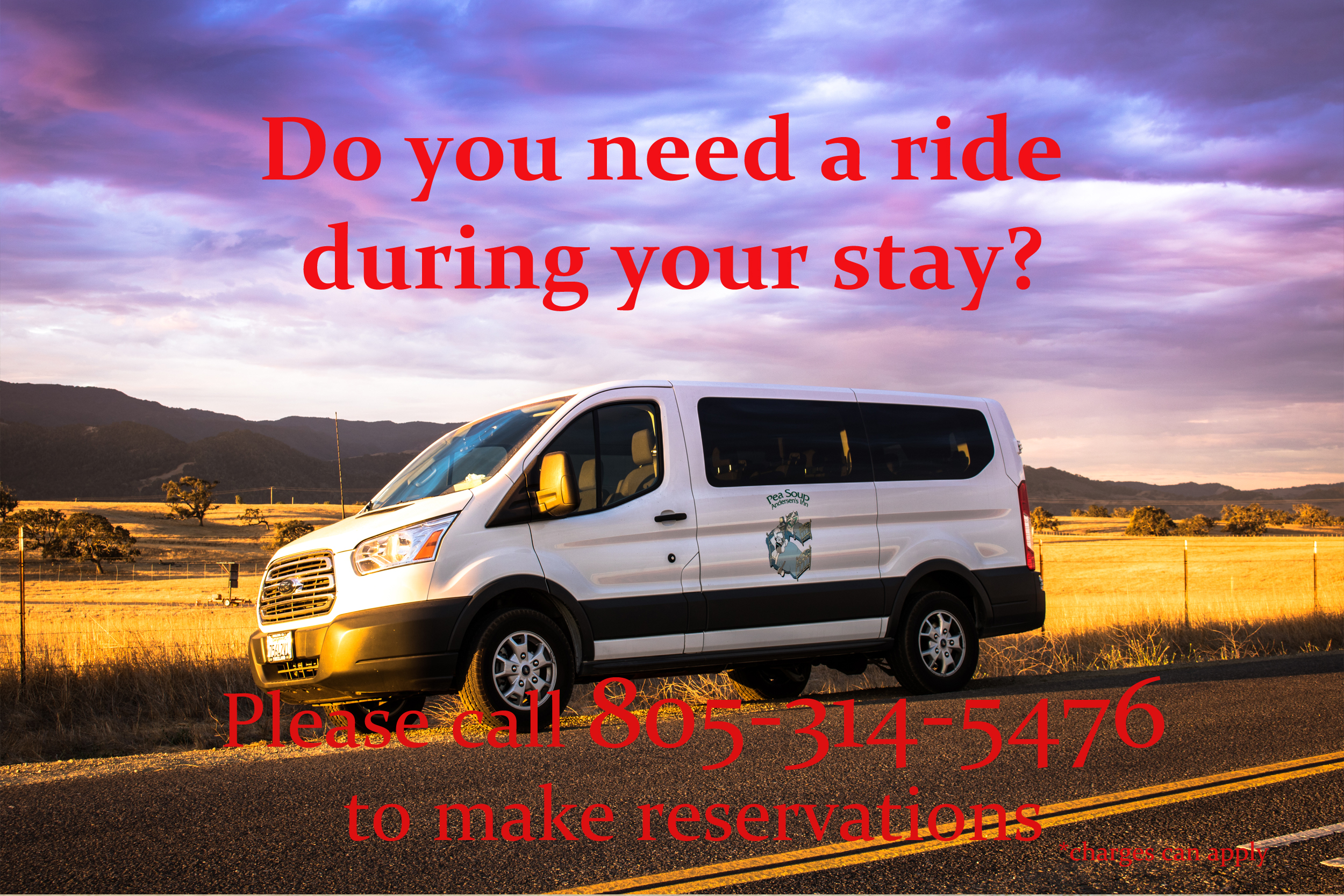 Call for wine tour, golf packages and more.