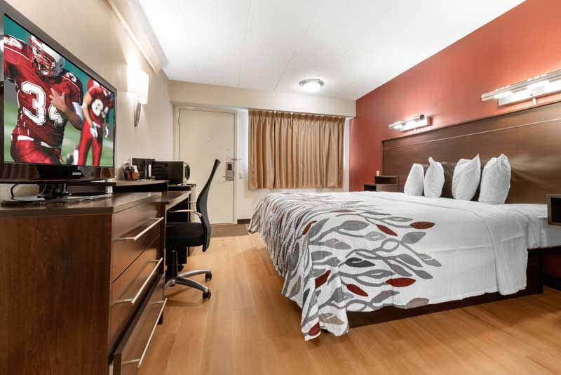 Premium Bedding Newly Remodeled Budget Cheap Lodging Accommodations Red Roof in Lafayette Indiana Purdue
