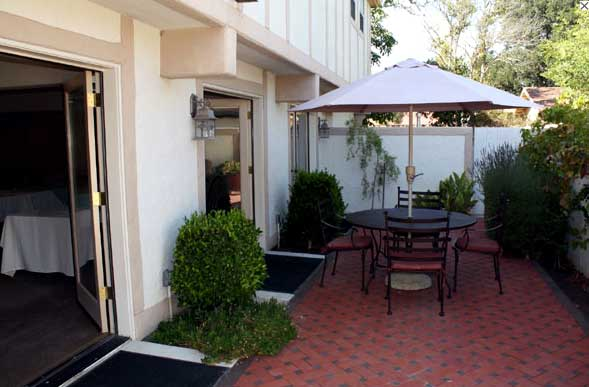 Outdoor Patio Royal Copenhagen Inn Downtown Solvang Business Traveler Weddings Receptions Royal Copenhagen Inn