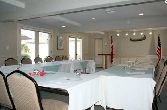 Formal Meeting Room Setup Audio Visual Equipment Royal Copenhagen Inn Budget Formal DJs Receptions Weddings Downtown Solvang