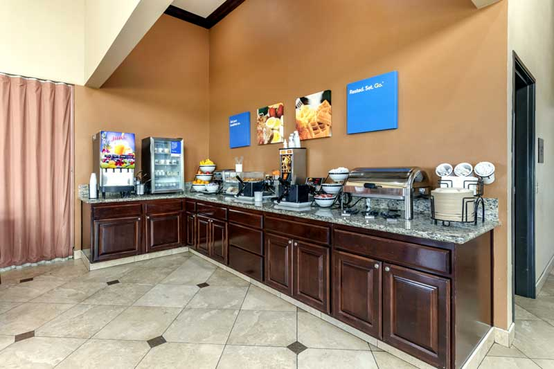 Free Hot Breakfast Budget Affordable Lodging Hotels Motels Comfort Inn and Suites Colton California