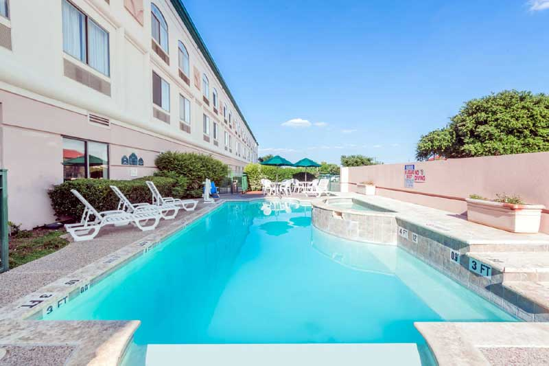 Pool and Spa Hotels Motels Amenities Newly Remodeled Free WiFi Free Continental Breakfast Crash Pad DFW Airport Dallas Wingate Irving TX Reasonable Affordable Rates Amenities Hotels Motels Lodging Accomodations Great Amenities Irving Texas