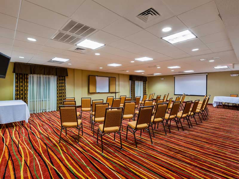 Meeting Room 50 People Full Setup Business Travelers Holiday Inn Express and Suites Salina Tesla Charger Station