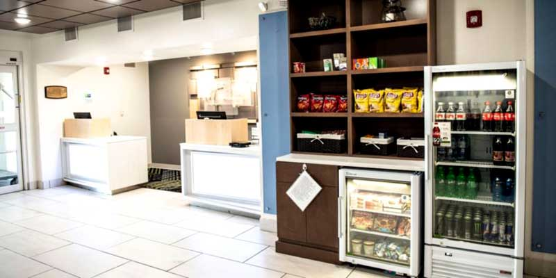 Snack Bar Hotels Motels Amenities Newly Remodeled Free WiFi Free Continental Breakfast Holiday Inn Express & Suites Sedalia MO Reasonable Affordable Rates Amenities Hotels Motels Lodging Accomodations Great Amenities Sedalia Missouri
