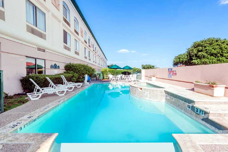 Outdoor Seasonal Spa and Pool Hotels Motels Amenities Newly Remodeled Free WiFi Free Continental Breakfast Wingate Dallas DFW Airport Irving TX Reasonable Affordable Rates Amenities Hotels Motels Lodging Accomodations Great Amenities Irving Texas