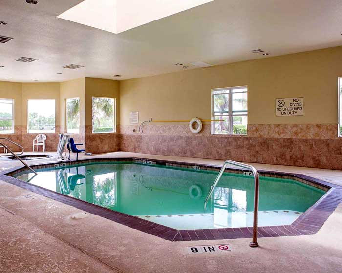 Indoor Heated Pool and Spa Hotels Motels Amenities Newly Remodeled Free WiFi Free Continental Breakfast Quality Inn and Suites Houston NASA La Porte TX Reasonable Affordable Rates Amenities Hotels Motels Lodging Accomodations Great Amenities La Porte Texa