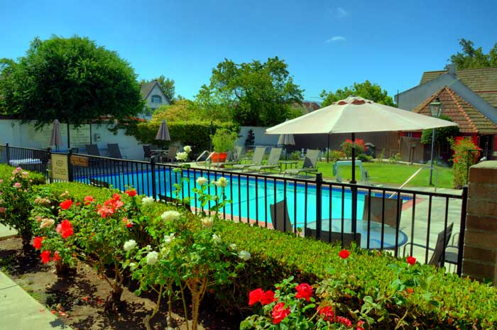 Heated Pool Dogs Pet Friendly Royal Copenhagen Inn Budget Affordable Newly Remodeled Flat Screen TV Family Suites Business Travelers Weddings Receptions Meeting Room in Solvang California Wine Region