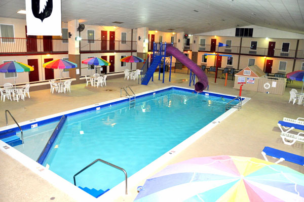 Heated Indoor Pool and Spa with Full Waterpark Features and Waterslide for Kids Westgate Inn Clarksville Tennessee