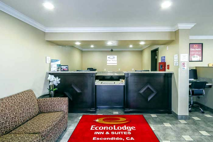 Amenities Hotels Motels Amenities Newly Remodeled Free WiFi Free Continental Breakfast Econo Lodge Inn and Suites Downtown Escondido CA Reasonable Affordable Rates Amenities Hotels Motels Lodging Accomodations Great Amenities Escondido California