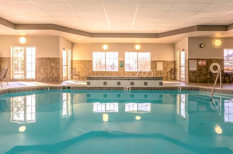 Indoor Heated Pool Hotels Motels Amenities Newly Remodeled Free WiFi Free Continental Breakfast La Quinta Inn and Suites Loveland CO Reasonable Affordable Rates Amenities Hotels Motels Lodging Accomodations Great Amenities Loveland Colorado