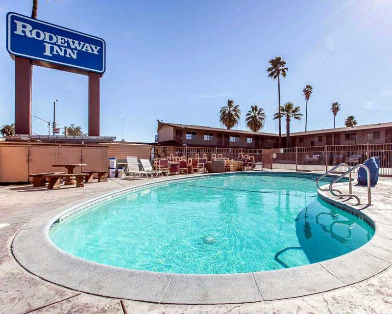 Seasonal Outdoor Pool Hotels Motels Amenities Newly Remodeled Free WiFi Free Continental Breakfast Rodeway Inn San Bernardino CA Reasonable Affordable Rates Amenities Hotels Motels Lodging Accomodations Great Amenities San Bernardino California